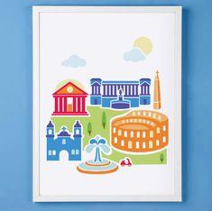 Rome Italy Art Print for Nursery or Children's Room Decor