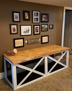 55 Ideas Double Dog Crate Furniture Diy For 2019 Dog Crate Table, Dog Crate Furniture, Diy Dog Crate, Furniture Redo, Cheap Furniture, Diy Dog Kennel, Diy Dog Bed, Kennel Ideas, Dog Kennels