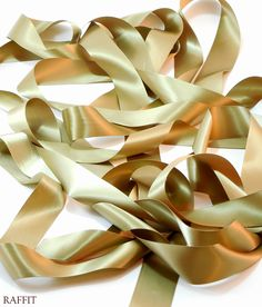 """Italian Satin (Double Face) - (1 1/2"""" W) The Finest, most Luxurious Double Face Satin in the World - Sheer Hollywood Glamour On Vintage Spools Poly in Antique Gold - Made in USA"""