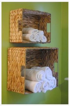 Clearance baskets & sturdy screws = attractive storage!