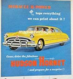 Vintage Hudson Hornet Car Magazine Ad/ Vintage by mamiezvintage, $9.95