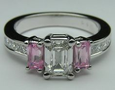 Emerald Cut Pink Sapphires and Princess Cut Diamonds Engagement Ring
