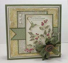 Great layout! Christmas - SU - Hummingbird & Holly - This entry was posted in By Stamp Set - More Merry Messages, By Stamp Set - Watercolour Winter, By Theme - Christmas - Vintage - Bloomin' Marvellous, Brocade Background DSP, More Merry Messages, Watercolour Winter