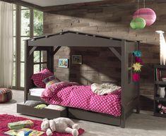 Lit cabine pour enfant avec tiroirs coloris taupe
