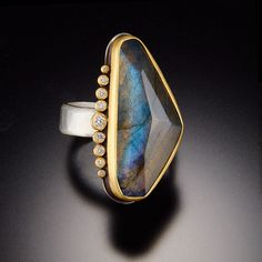 Handmade Jewelry Black Labradorite Sterling Silver Overlay Ring Size 7 US Sizable Gift For Girls