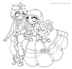 Prince Ice and Princess Ivy ::Open Lineart:: by YamPuff.deviantart.com on @DeviantArt