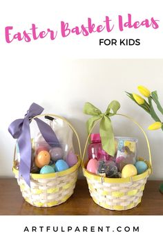 These 25 Easter basket ideas for kids are creative items you *want* your kids to have and don't include candy. Although you can add some, of course! Art Activities For Kids, Creative Activities, Painting For Kids, Art For Kids, Kids Notes, Easter Crafts For Kids, Easter Baskets, Kids And Parenting, Basket Ideas