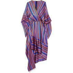 Petar Petrov Asymmetric wrap-effect striped silk-satin dress ($1,535) ❤ liked on Polyvore featuring dresses, colorful cocktail dress, wrap cocktail dress, purple dresses, cocktail dresses and evening cocktail dresses