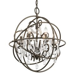 Kichler Lighting Vivian 19.02-in 6-Light Olde Bronze Hardwired Clear Glass Globe Standard Chandelier