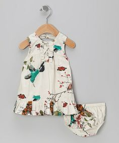 Take a look at this White Bird Babydoll Dress & Diaper Cover - Infant by Yo Baby on #zulily today!