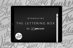 """This is """"The Lettering Box"""", a brush set for Procreate app. This set includes 12 procreate brushes to create outstanding lettering works with ease. Check them all on the presentation images."""