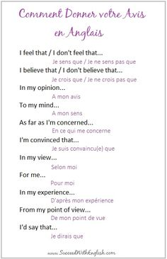 comment donner votre avis en anglais French Grammar, English Grammar, English Language, Learn To Speak French, Learn English Speaking, English Phrases, French Phrases, French Words, English Words