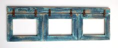 Shabby Chic Barnwood Collage Picture Frame 3 hole 5x7 Multi Opening with Rusty Bracket Hardware