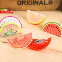 Creative cute acrylic lovely fruit pencil sharpener lapiseira apontador de lapis escolar papelaria sacapuntas pencil