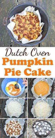 Dutch Oven Pumpkin Pie Cake Directions - This shows how to make a Pumpkin Pie Dump Cake in a dutch oven. #SoFabSeasons (Dump Cake)