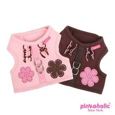 """Pinkaholic NY """"Choco Mousse Pinka Harness""""  Wrap-around-Velcro Harness Vest in 2 colors"""