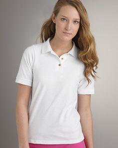 8a268481a G380L Ladies  6.5 Oz. Ultra Cotton Pique Polo 100% cotton Three-button