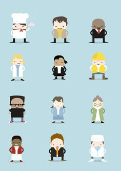 Character illustration Set for Top Workplaces - a photo on . Flat Design Illustration, Illustration Art Drawing, Simple Illustration, Character Illustration, Illustration Vector, Simple Character, Character Concept, Cute Characters, Cartoon Characters