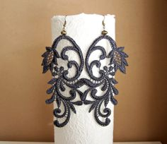 Azalea lace earrings charcoal grey by StitchFromTheHeart on Etsy, $21.00