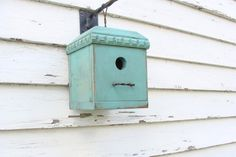Aqua Blue Rustic Cottage Birdhouse Decorative 4 Square Bird House Industrial Garden & Home New Design on Etsy, $40.00