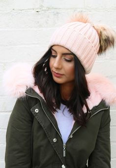 Double Pom Pom Ribbed Knitted Beanie Hat in Apricot Pink - One Nation Clothing - One Nation Clothing