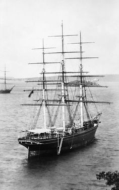 The Cutty Sark (1869) waiting in Sydney Harbour for the new season's wool.