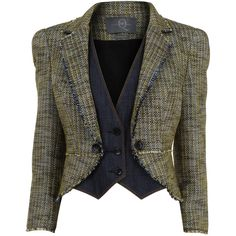 McQ ALEXANDER MCQUEEN Basket weave tweed jacket ($255) ❤ liked on Polyvore featuring outerwear, jackets, blazer, coats, tops, short-sleeve blazers, mcq by alexander mcqueen, collar jacket, blazer jacket and tweed blazers
