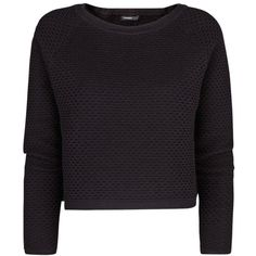 Mango Textured Cropped Jumper, Black ($26) ❤ liked on Polyvore featuring tops, sweaters, shirts, jumpers, long sleeve tops, raglan sweater, extra long sleeve shirts, raglan sleeve sweater and long-sleeve shirt