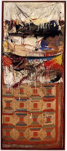 Rauschenberg! Love this guy. You will find found objects on his work, like cigarette butts or paint lids.