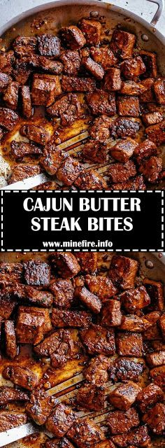 Tender pan seared Cajun Butter Steak Bites are full flavoured with crispy edges. Seared in Cajun seasoning and garlic butter, ready in u. Cajun Recipes, Meat Recipes, Dinner Recipes, Cooking Recipes, Healthy Recipes, Cajun Cooking, Recipes For Steak, Cajun Food, Entree Recipes