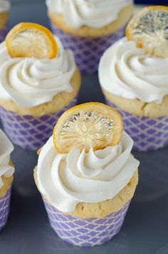 Lemon Cupcakes with Candied Lemon Chips by Seeded at the Table, via Flickr