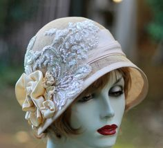 1920's Great Gatsby Vintage Style Wedding Hat Lace by BuyGail