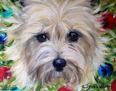 Wreath (Cairn Terrier) Oil Painting By Mary Sparrow (Smith)