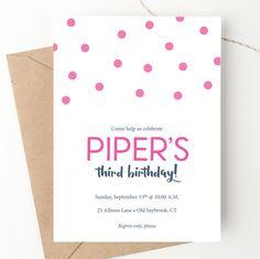 Polka Dot Birthday, Third Birthday, Digital Invitations, Birthday Invitations, Invites, Carta Logo, Colored Envelopes, Favor Tags, Diy Party