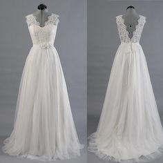 Ivory Lace Tulle Back V Beach Wedding Dress Bridal Gowns With Sash LD140