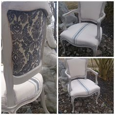 Tattered Elegance: Faux Grain Sack French Chairs - ASCP French Linen mixed with Pure White. Refurbished Furniture, Upcycled Furniture, Diy Furniture, Furniture Refinishing, Reupholster Furniture, Upholstered Furniture, Banquettes, Love Chair, French Chairs