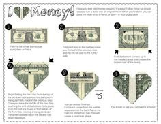 Follow these six simple steps to turn a dollar into an origami heart!