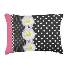 Floral/Polka Dots Accent Pillow 16x12