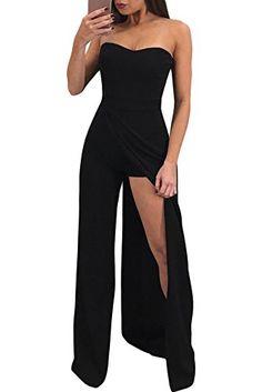 1932b25e8ca5 Acelitt Women s Off Shoulder Sleeveless Asymmetric Split Leg Strapless Jumpsuit  Rompers Black Large