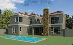 This house floor plans with photos has an awesome street appeal. Browse 4 Bedroom double storey house plans in South Africa. Tuscan House Plans, Porch House Plans, 4 Bedroom House Plans, Basement House Plans, Family House Plans, Cottage House Plans, Basement Bedrooms, House Plans For Sale, House Plans With Photos