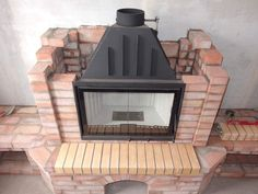 Alex creations wood steel bricks and stone Vented Gas Fireplace, Cabin Fireplace, Rustic Fireplaces, Fireplace Remodel, Modern Fireplace, Fireplace Design, Modern Small House Design, Dream Home Design, Barn Renovation