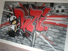 children / teen / Kids Bedroom Graffiti mural - #handpainted #graffiti #featurewall #design #graffitibedroom #interior #design #abstract #bedroommural #boysbedroom #bedroomideas #handpainted #bedroom #footballroom