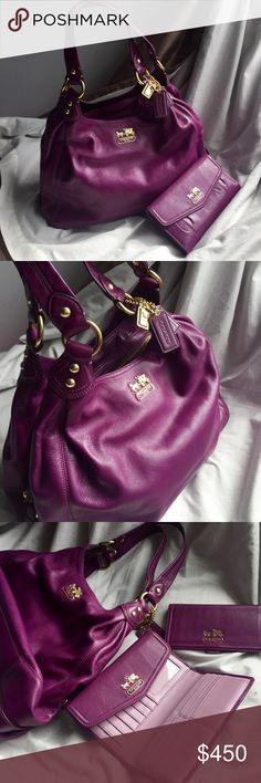 Coach Madison Set Coach Madison Maggie Large Hobo Satchel Shoulder Bag in Smooth Purple Leather w/ Matching Wallet & Check Cover. Amazingly well designed bag w/pockets galore! Zipper Coin Pocket on wallet fits iPhone 6 & doubles as a Clutch. Never Used. Tiniest flaw on wallet (see photo) Note the Madison Maggie had EST hardware but not an F marked serial number. Coach Bags Satchels