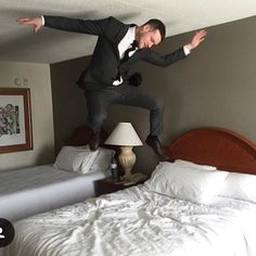 When you want to adult but your inner child is telling you to let go! Great snap in his business attire @lifeisahotel #hotel#hotelroom#hotellife#bouncybed#hotelbed#hotelroom#hotelfun#crewlife#layover#jumpingonbed#hotelbedjumping#airport#vacation#holidays#competition#cheerleader #cheer#prizes#giveaway#mattress#jump#bounce#bouncy#trampoline#hoteltrampoline#girl#boy#blondie#bedtest#bedjumping by hotelbedjumping_community