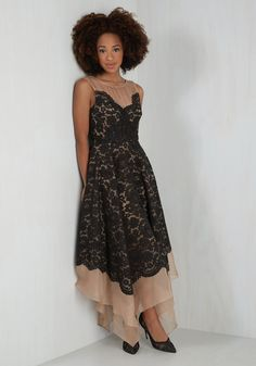 Every Swish Way Dress. A dynamic display of mocha and noir loveliness, this flowing frock from Tracy Reese captivates from all angles. #black #prom #modcloth