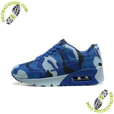 info for 8a013 528bd chaussures running nike pas cher Air Max 90 Enfant Camouflage Bleu