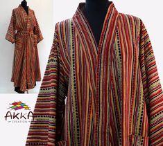 kimono cotton gown with ecru cotton and red and black stripes print block print Kimono Dressing Gown, Cotton Gowns, Peignoir, Stripe Print, Black Stripes, Printed Cotton, Kimono Top, Clothes, Peter Pan