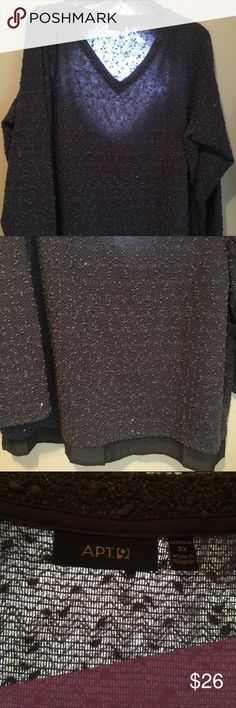 Apt. 9 Gray Sequined Sweater. Size 3X. Apt. 9 Gray Sequined Sweater. It has a thin gray piece at the bottom for a layered look. Only worn once. Perfect to wear with leggings or jeans & boots! 98% Polyester/2% Spandex. Wash inside out on gentle, lay flat to dry.                                       🌟BUNDLE TO SAVE MORE🌟 Apt. 9 Sweaters V-Necks