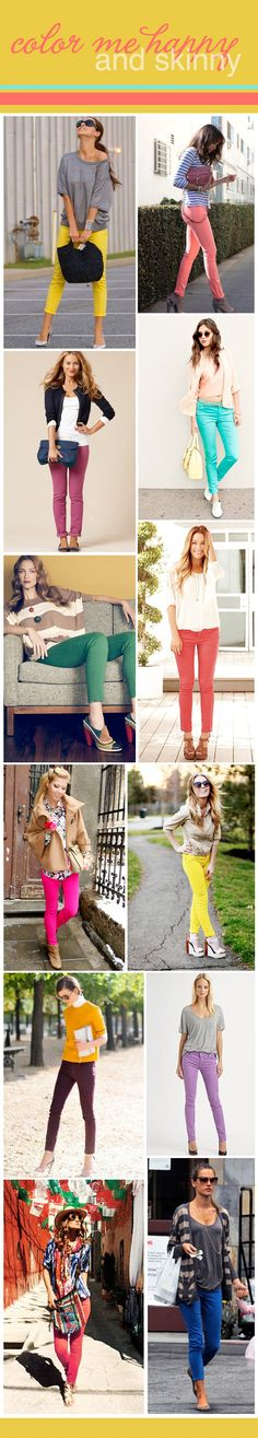 Do you have idea on what to wear with skinny jeans? Skinny jeans are must- have clothing pieces in your wardrobe because of its versatility. Colored Skinny Jeans, Colored Pants, Colored Denim, Skinny Pants, Fashion Mode, Look Fashion, Womens Fashion, Skinny Fashion, Jeans Fashion