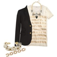 J. Crew Bar-Stripe T-Shirt and Pennant Necklace